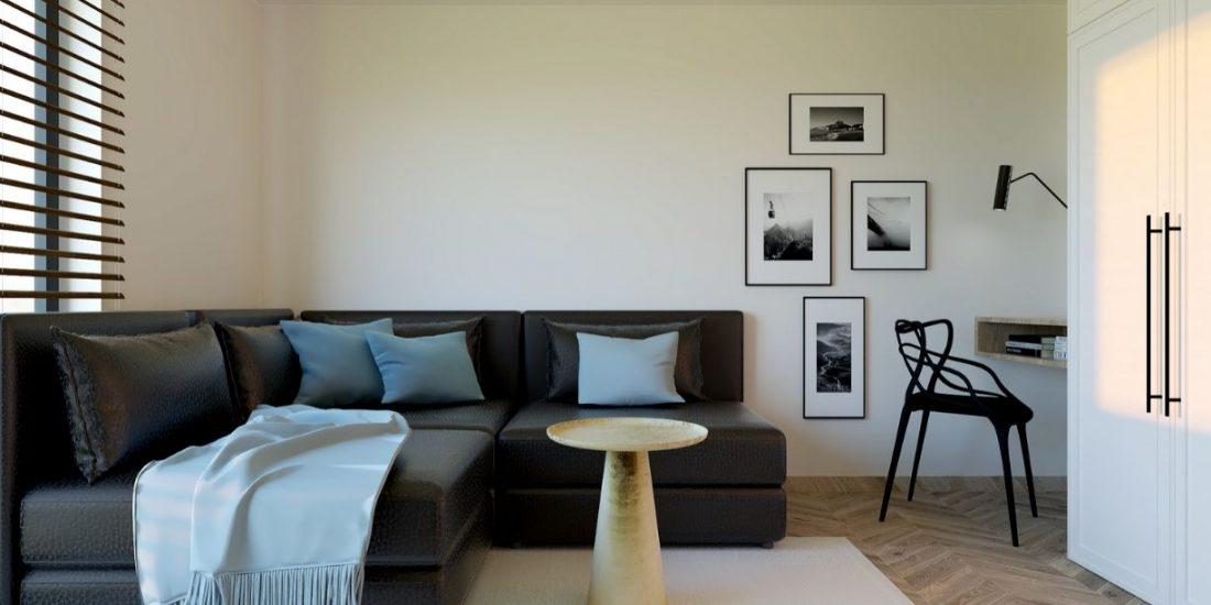 projekt salonu w domu jednorodzinnym z przestrzenią biurową