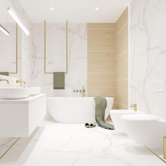 kobieca łazienka, łazienka w białym marmurze z elementami złota