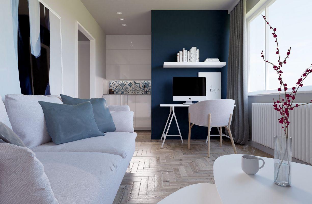 classic blue - projekt wnętrza mieszkanie Mogilany