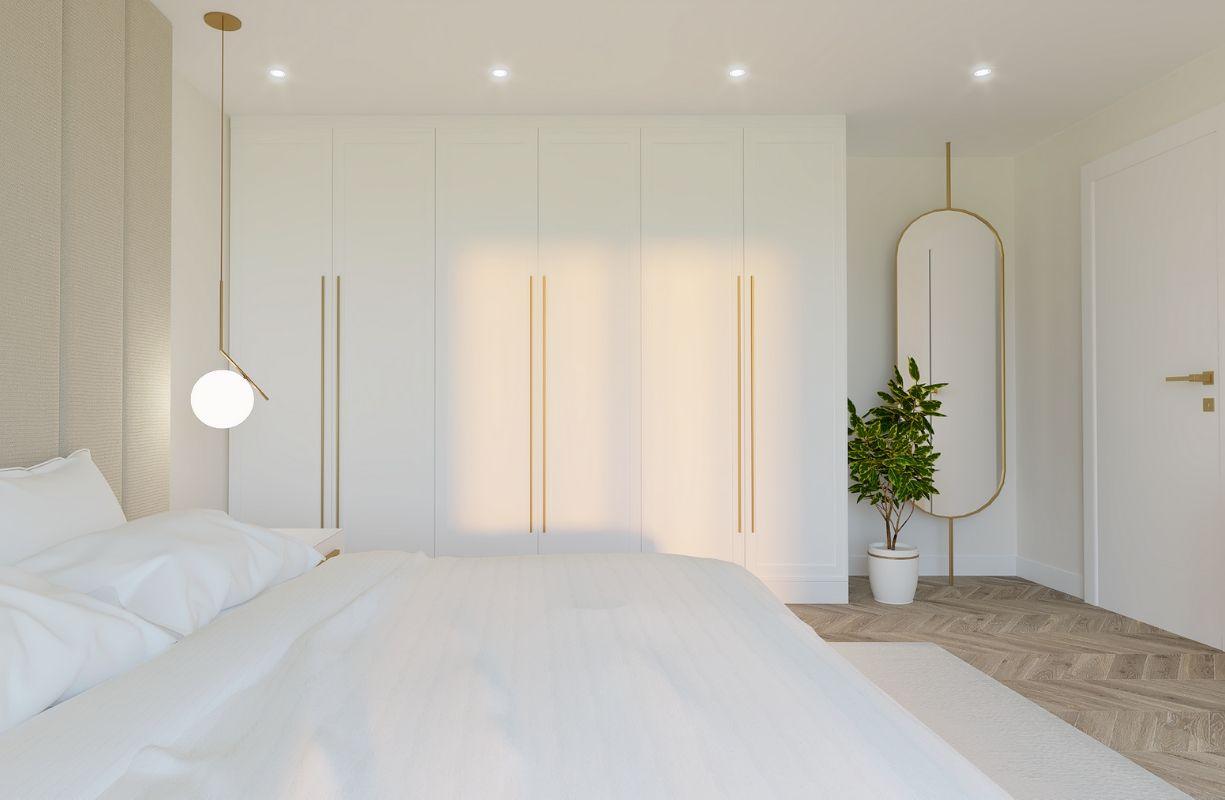 projekt sypialni w kobiecym apartamencie w bieli